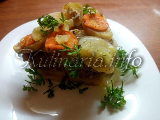 запеканка с фаршем и картофелем