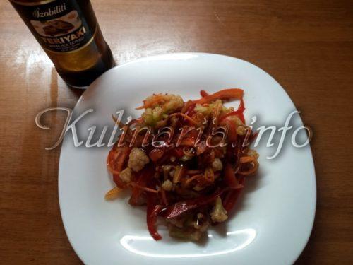 цветная капуста по-корейски с соевым соусом
