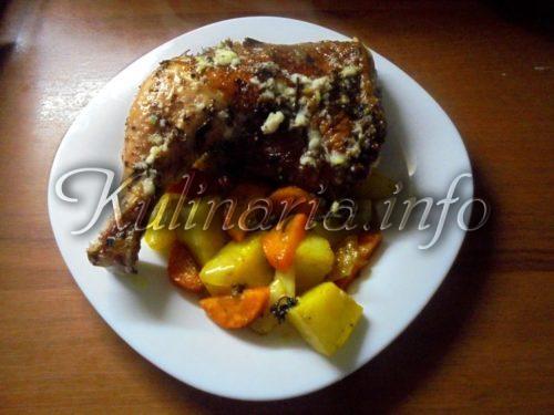 курица с картофелем и корочкой в духовке